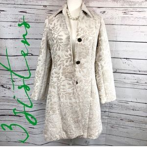3 Sisters Ivory Tapestry Brocade Trench Coat